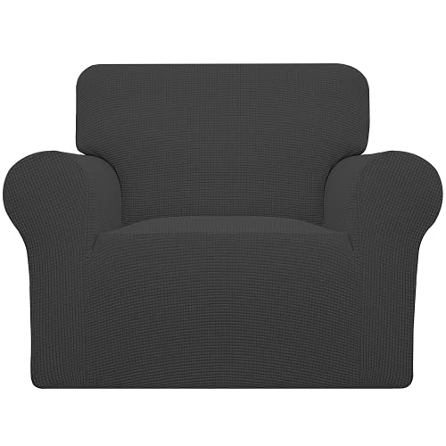 Easy-Going Stretch Chair Sofa Slipcover 1-Piece Couch Sofa Cover Furniture Protector Soft with Elastic Bottom for Kids,Pet. Spandex Jacquard Fabric Small Checks(Chair,Dark Gray)
