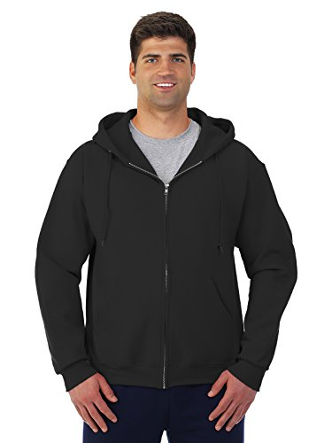 Jerzees Super Sweats Adult Full-Zip Hooded Sweatshirt (Black) (2X)