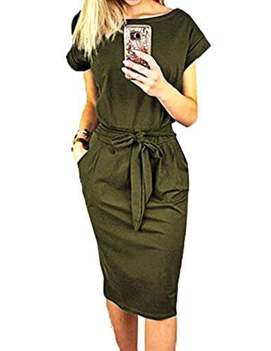 PRETTYGARDEN Ladies Basic Crew Neck Short Belted Office Dress with Pockets Solid Color Tunic Top Dress Summer Short Sleeve Lace-Up Party Dress Slim T Shirt Dress Army Green