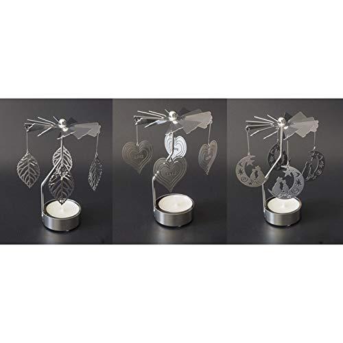 Cosy YcY Juego de 3 candelabros giratorios giratorios para decoración de bodas, cumpleaños y fiestas (patrón árbol+gato+amor)