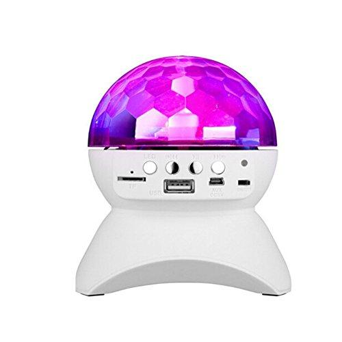 Velity Altavoz Bluetooth universal portátil con luz LED integrada para fiestas, escenario y discoteca, bola de cristal LED giratoria automática, con reproductor de música para tarjeta TF, (blanco)