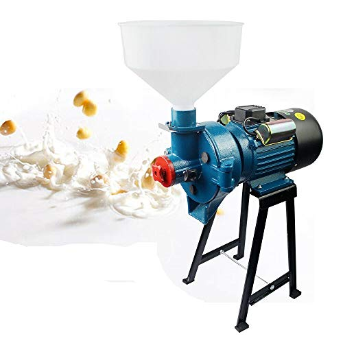 Soybean Grinder Machine Soy Milk Maker Mill Grinder Wet Mill Machine 110V 2.2KW Electric Grain Wet Feed Flour Milling Machine Cereals Grinder for Rice Corn Grain Soybean Wheat with Funnel (A) -  HG-2133-US