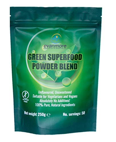 Green Superfood Powder Blend - Evanmore Super Complete Greens Ultimate Mix Vegan & Vegetarian Friendly Smoothie Juice Detox Supplement - 250g / 50 Servings – Gluten Free SOYA Free Non GMO