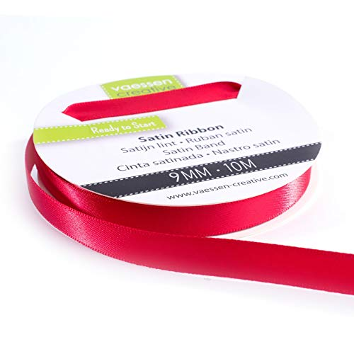 Vaessen Creative Nastro Satin, 10 m, Rosso, 9 mm