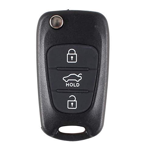 Heart Horse Coque de clé pliante à 3 boutons compatible avec Hyundai i20 i30 i35 iX20 iX35 1788D-WB1U751 CWTWB1U751 TWB1U751
