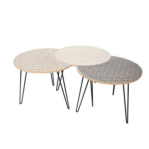 The Home Deco Factory HD3882 Set di 3 tavolini bassi in ferro, beige, 45 x 45 x 36 cm