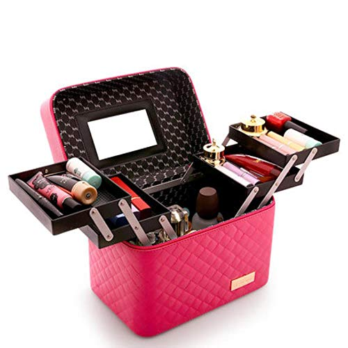EMOHKCAB Women Large Capacity Professional Makeup Organizer Fashion Toiletry Cosmetic Bag Multilayer Storage Box Portable Pretty Suitcase,0102004-rose Red