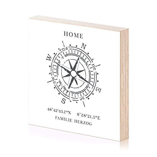 Kompass Koordinaten Holzbild 15x15 zum hinstellen oder aufhängen als Geschenke oder Geschenkidee zum Einzug Einweihung Geburtstag Wand-Bild Wand-Deko