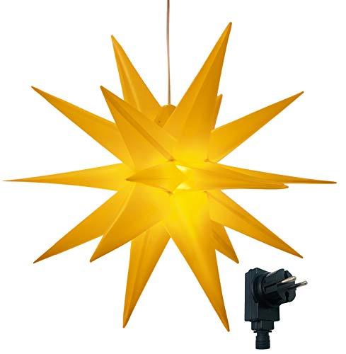 3D Leuchtstern/mit warm-weißer LED Beleuchtung/für Innen und Außen geeignet/hängend / 7,5 m Zuleitung/ca. 57x44x48 cm (Gelb)
