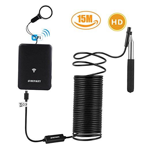 WiFi Endoskop ,15m 2 Millionen Pixel HD Drahtloses Borescope IP67 Wasserdichte Inspektion Snake Kamera f¨¹r Android und IOS Smartphone, iPhone, Samsung, Tablet mit Teleskopstange ¡