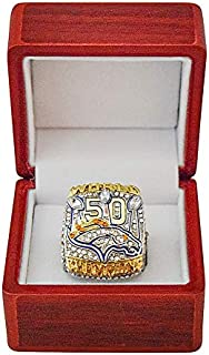 DENVER BRONCOS (Von Miller) 2015 SUPER BOWL 50 WORLD CHAMPIONS (This Ones for Pat) Rare Collectible High-Quality Replica NFL Football Silver Championship Ring with Cherrywood Display Box