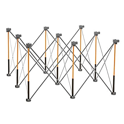 Bora Centipede 4ft x 4ft 9-Strut Work Table, Includes 4 X-Cups, 4 Quick Clamps, Carry Bag, Portable Work Support Sawhorse, CK9S,Black/Orange by HTC