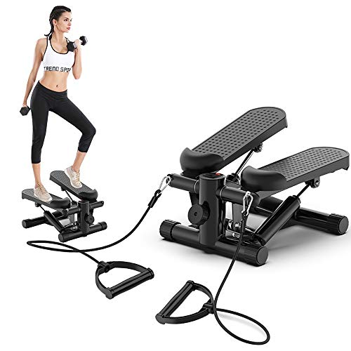 DODOBD Mini Stepper, Twister Stepper mit Power Ropes, Stepper für Zuhause, Stepper Fitnessgeräte Verstellbare Treppenstufe LCD-Display Fitness-Trainingsgerät Indoor Workout