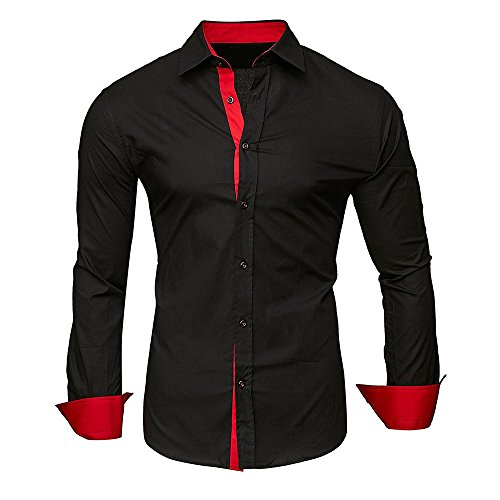 Baiggooswt Men Shirts Men's Autumn Casual Formal Solid Slim Fit Long Sleeve Dress Top Blouse Black