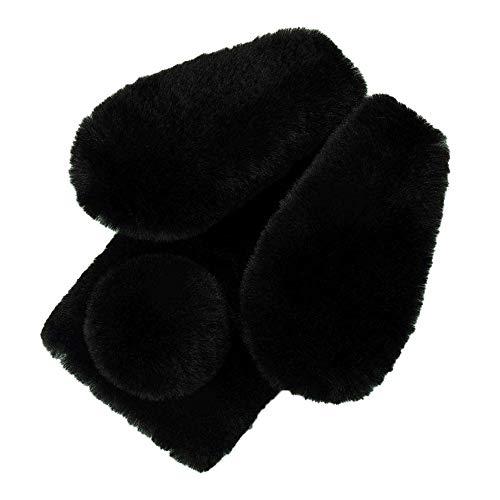 Pumbiiky Plüsch Hülle für Meizu 15 Plus Süße Hasen Ohren Fell Flauschige Kaninchen Haar Weicher bequemer Stoßfest Schützend TPU Hülle,Schwarz