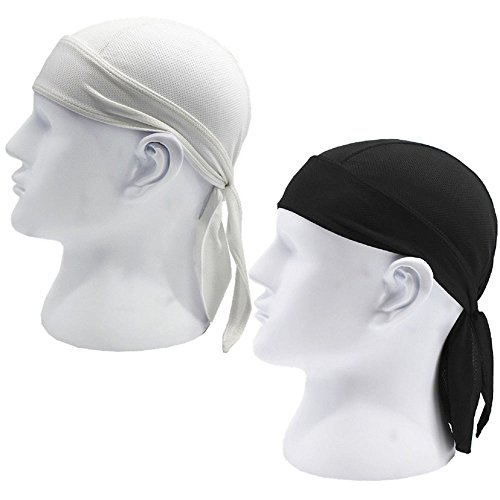 2 Pack Sweat Wicking Head Cover Skull Cap Cycling Cap Beanie Adjustable Hat Head Wrap Chemo Cap Fits under Helmets. Perfect For Outdoor Sport Running, Motorcycling,Biking, Football (Black,White)