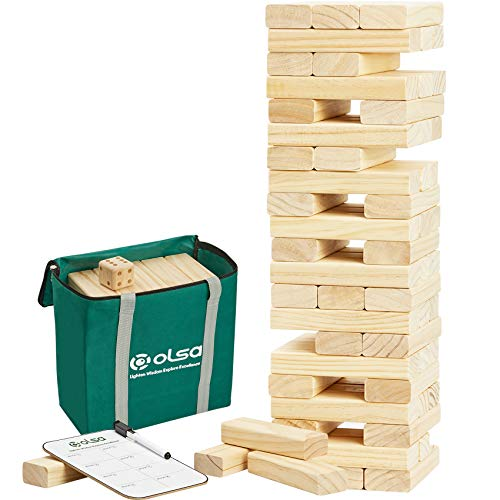 OLSA Giant Tumble Tower, 60 PCS Wooden Block Stacking Yard Game with Carrying Bag, Classic Outdoor Games for Kids Adults Family (Stack from 2.2 Ft to 5 Ft)