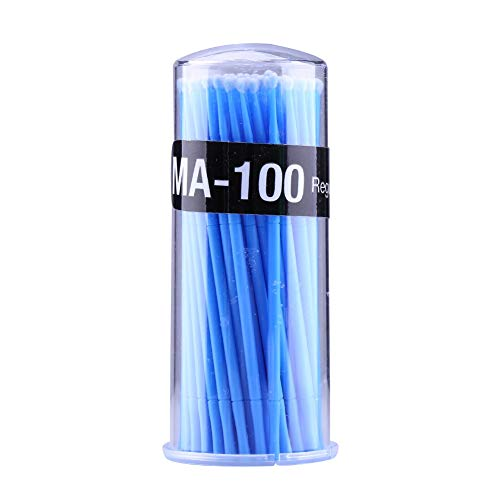 100pcs micro brosse jetable d'extension de cils applicateurs individuels brosse de mascara pour les femmes (Color : Bleu)