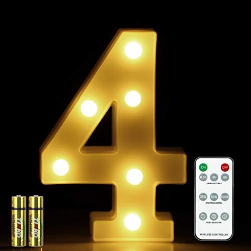 HONPHIERR Numero luz LED con mando distancia letras del alfabeto