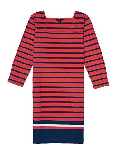 Tommy Hilfiger Damen ADP W VEUVE LS Border Hem Dress Kleid, Gebleicht Rot Multi, X-Klein