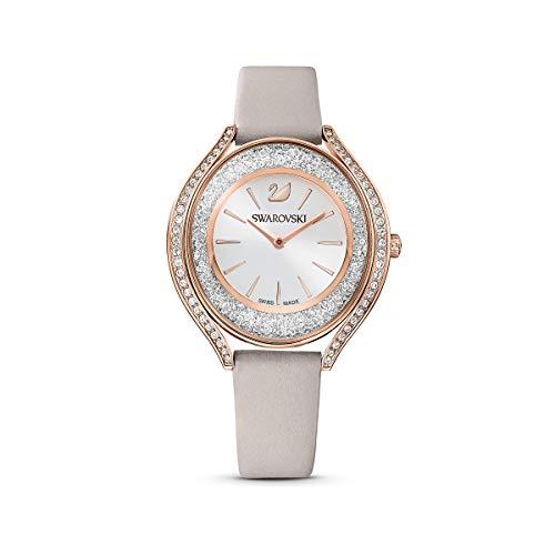 Swarovski Crystalline Aura Uhr, Damenuhr mit Rosé Vergoldetem Gehäuse, Silbernem Zifferblatt, Swarovski Kristallen und Taupefarbenem Lederarmband