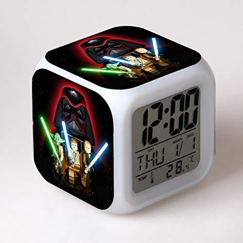 juntop LED alarm clock 7 color change film digital clock electronic desk alarm clock kid gift toy wake up light of light