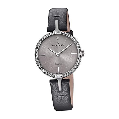 Candino C4652/1 - Reloj de Pulsera para Mujer, analógico, Cuarzo, Piel, Color Gris, D2UC4652/1