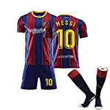 FASHIONN Messi # 30 Kids Football Jersey 2020-2021 Niños y niñas Camiseta Pantalones Cortos Shorts 2 Piezas Fans Athletic Set con Calcetines blue-160