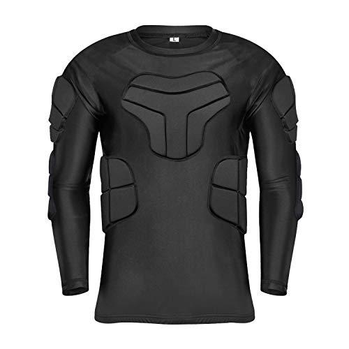 TUOY Men s Padded Compression Long Sleeve Shirt Padded Protective Training Shirt Rib Chest Protector Shirt for Football Baseball Basketball Paintball Ski