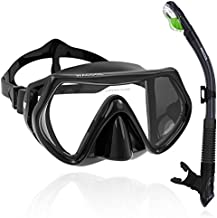 WACOOL Adults Teens Snorkeling Snorkel Diving Scuba Package Set with Anti-Fog Coated Glass Purge Valve and Anti-Splash Silicon Mouth Piece for Men Women (Black)