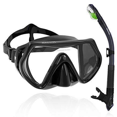 WACOOL Adults Snorkeling Snorkel Diving Scuba Package Set with Anti-Fog Coated Glass Purge Valve and...