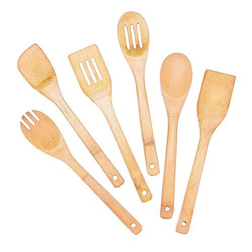 XQK Ensemble de 6 ustensiles de Cuisine en Bois, ustensiles de Cuisine en Bambou cuillères à spatule Eco cuillère à Salade Outils de mélange Alimentaire pour Pots et casseroles antiadhésives