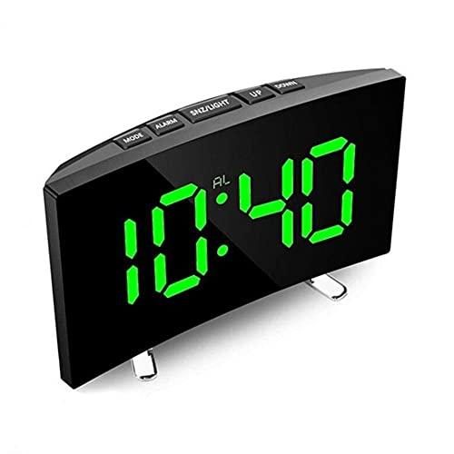 Reloj Despertador Digital,Reloj de Espejo LED Tiempo de Visualización de Repetición Multifunción Mesa de Luz LCD Nocturna Reloj Despertador con Cable USB de Escritorio