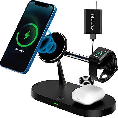 【2021最新型】TEPNICAL ワイヤレス充電器 5 in 1磁気充電MagSafe対応 急速充電15W/10W/7.5W iPhone 12 / 12 Pro / 12 Pro Max / 11 / 11 Pro / Pro Max / Galaxy S20 /S10 / S10+ / S9 / Note 10/Apple AirPods 2 / AirPods Pro など対応(日本語説明書付き、18WQC3.0アダプター付属)ブラック