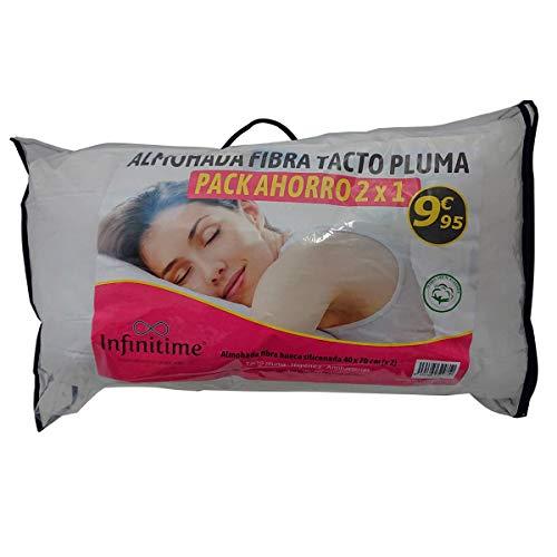 VIP HOGAR Pack 2 Almohadas Fibra Tacto Pluma 40 x 70 cm Tejido 100% algodón (40_x_70_cm)