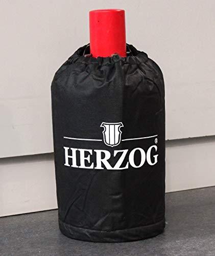 Herzog Abdeckhaube Gasflaschen 5 kg schwarz Logo kleine Flasche Schutzhülle Gasflaschenhülle Abdeckung Hülle Gas Flaschenhülle