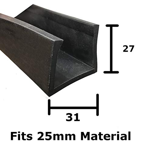 Carré Edge U Section EPDM Garniture Edge de protection de voiture en caoutchouc Noir 31 mm x 27 mm à 25 mm