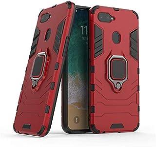 جراب ايرون مان بحلقة معدنية وحامل مغناطيسي للسيارة لموبايل اوبو A3s/ ريلمي c1، احمر