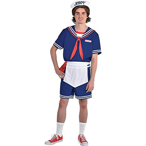 Party City Stranger Things Steve Scoops Ahoy Halloween Costume for Men, Netflix, Standard with Accessories