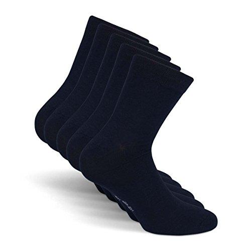 Snocks ® Herren Business Socken Lange Haltbarkeit Dank Bester Qualität (Ohne Fusseln), 1x Schwarz + 1x Dunkelblau + 1x Braun + 1x Dunkelgrau + 1x Hellgrau, 39 - 42