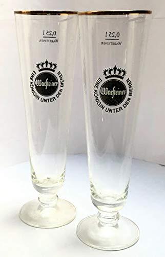 Warsteiner - Set di 2 bicchieri da birra, 0,25 l, con bordo dorato, per gastronomia, bar, feste