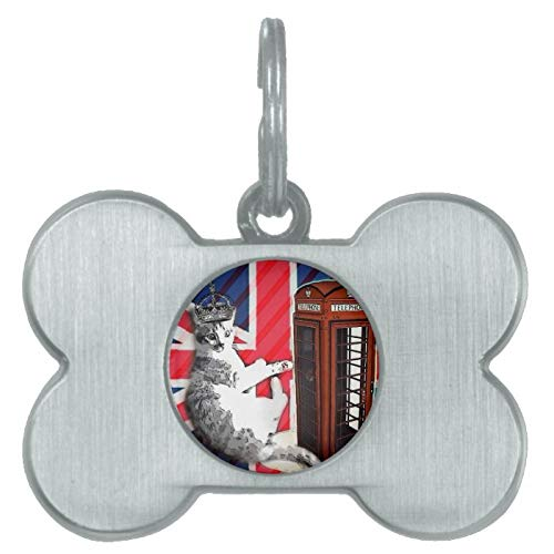 Stainless Steel Pet ID Tags, Union Jack Flag Telephone Booth Crown Kitty Cat Pet Tag, Dog Tags, Cat Tags, Bone Shaped ID Tag for Dogs and Cat