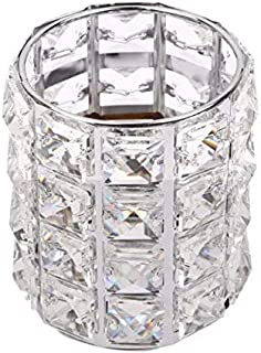 Crystal brush holder and silver makeup organizer