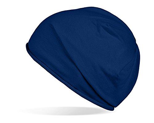 Tarjane Trendige leichte und dünne Jersey Beanie - Unisex - für Damen und Herren Navy OneSize