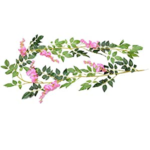 YPY 6.6ft Artificial Flower Ivy Silk Wisteria Flower Vine Green Leaf Hanging Vine Garland for Wedding Party Home Garden Ceremony Wedding Arch Floral Decor (Pink, 1)