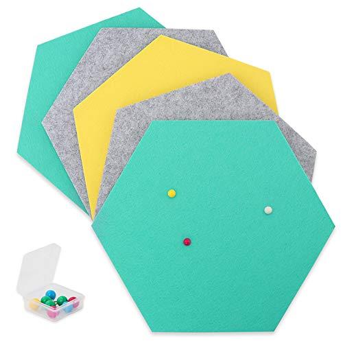 SEG Direct Hexágono de Fieltro Autoadhesivo | Set 5 Paneles Adhesivos 26 x 30 x 1 cm con 10 Chinchetas para Colgar fotos, Decoración del Hogar y Oficina | Gris / Verde Azulado / Amarillo