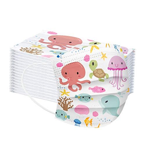 50Piezas Niños Protección, , Polvo y en el aire 3 Capas Transpirables con Elástico para Los Oídos para Impresión linda Seguro Suave Transpirable Protección personal diaria
