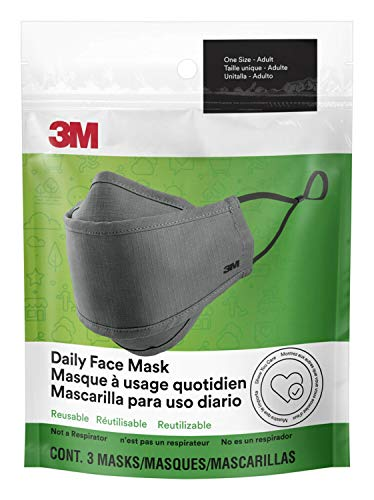 3M (MCOE7) Daily Face Mask, Reusable, Washable, Adjustable Ear Loops, Lightweight Cotton Fabric, (Pack of 3)
