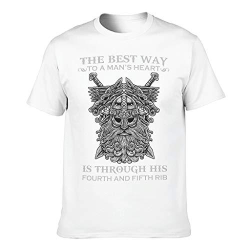 Viking Der Beste Weg ins Herz eines Mannes Herren T-ShirtsSommer-beiläufigeTee Mit Modischem Print Tee TopT-Stücke White 5XL