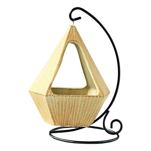 TJW Pots géométriques pour plantes grasses avec cadre en fer - Vase en céramique à suspendre - Kit pour plantes grasses, fougères, mousse, bonsaï - Décoration de maison ou de bureau (B)